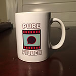 A mug designed using PureFiller.com's logo. I touched up the logo, and then printed and sent this mug to the owner. I have redesigned the logo again, and more merchandise will reflect that.